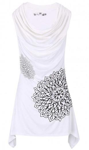 Bílá tunika s černými květy Desigual Montseny