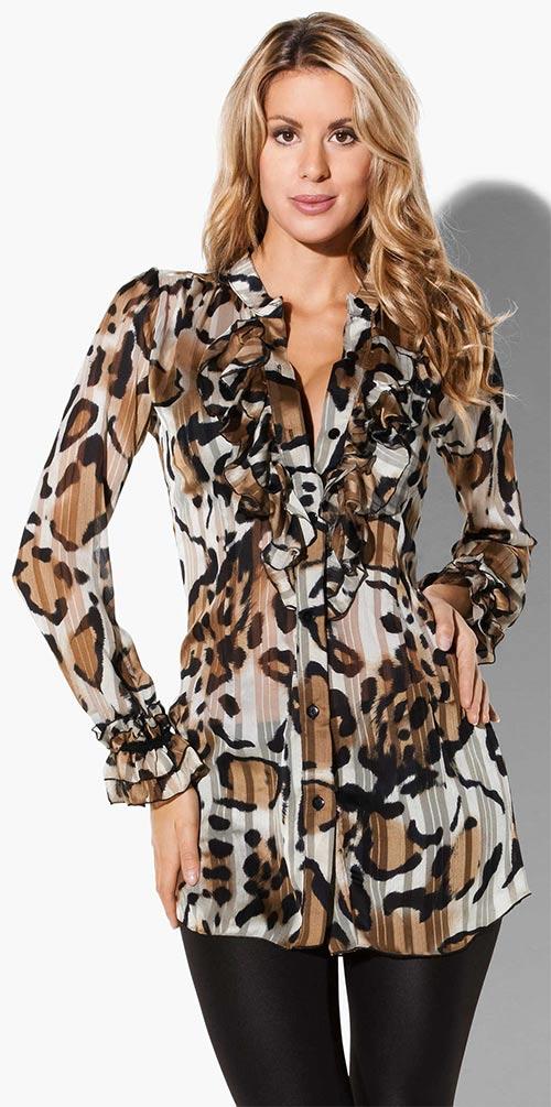 Francouzská halenková tunika s leopardím vzorem
