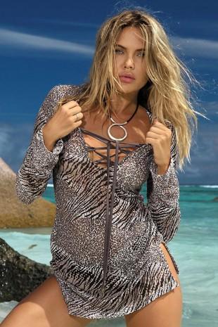 Plážová tunika/šaty Beyoncé ve zvířecím designu