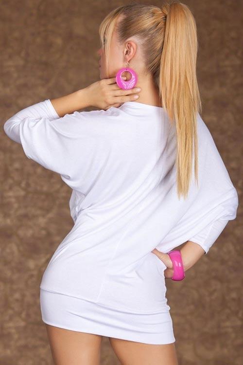 Bílé dámské minišaty s tříčtvrtečním rukávem