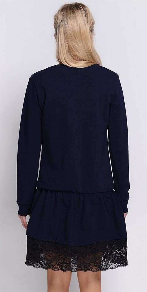 Modrá společenská tunika s krajkou