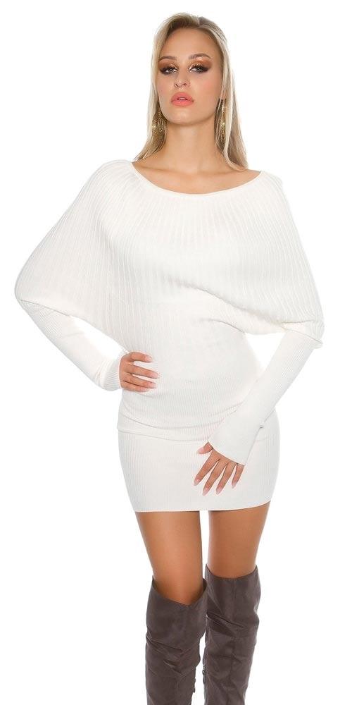 Bílá upletová tunika – dámské carmen minišaty