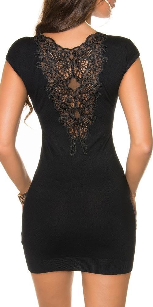 Černá tunika/šaty s krátkými rukávy zdobená elegantní krajkou