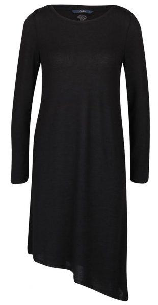 Černá asymetrická tunika s dlouhým rukávem