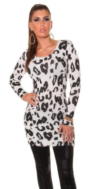 Dámská svetrová tunika s leopardím vzorem