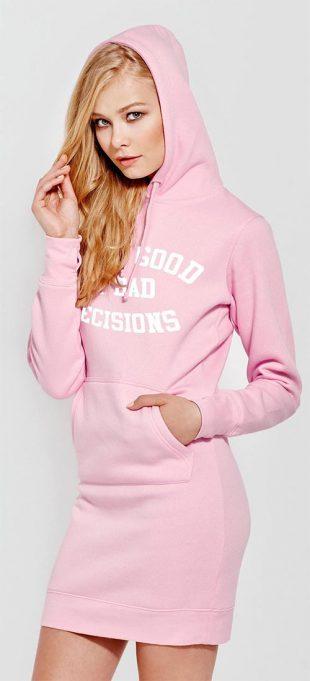 Mikinová tunika s kapucí Bad Decisions Pink