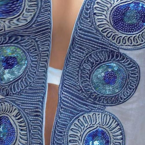 Bílá dámská tunika s modrým potiskem