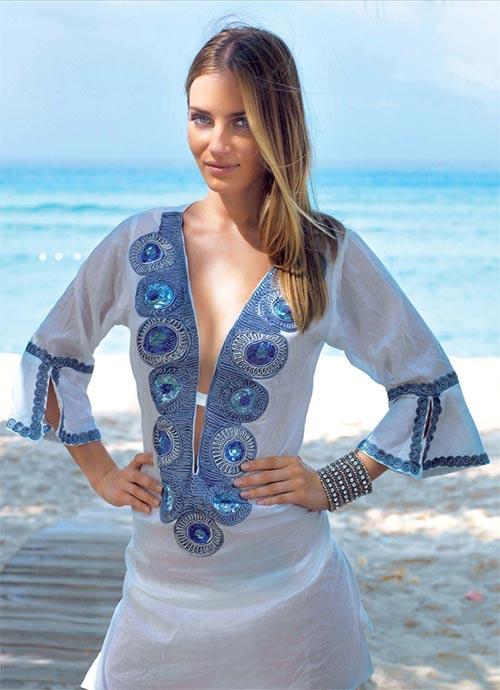 183abfedb41 Luxusní vzdušná tunika jako plážové šaty