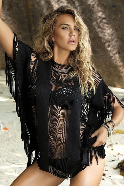 Černé nebo bílé pletené plážové etno šaty s průstřihy
