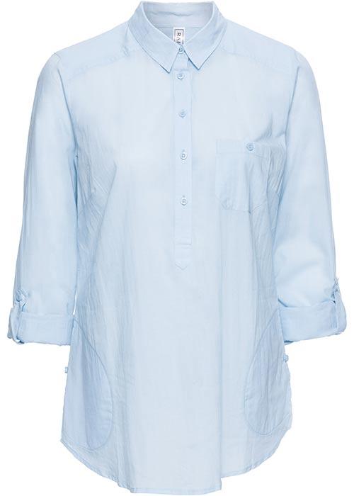 Světle modrá košilová tunika