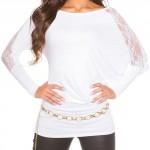 Bílá tunika s krajkovými netopýřími rukávy