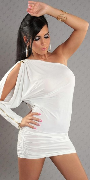 Dámské asymetrické nařasené bílé mini šaty