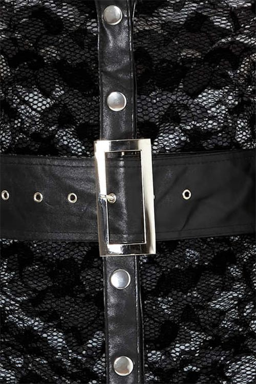 Krajková tunika s koženkovým opaskem