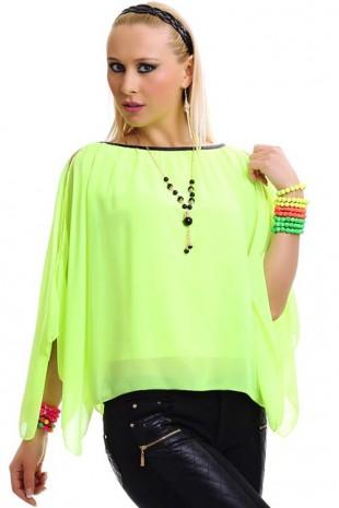 Módní letní šifonová tunika neonově zelené barvy