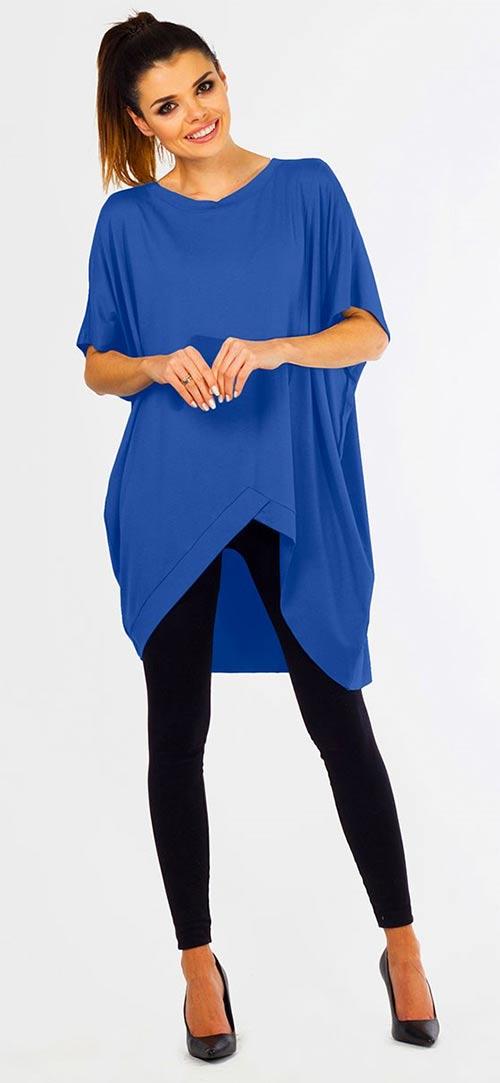 Modrá prodloužená asymetrická tunika