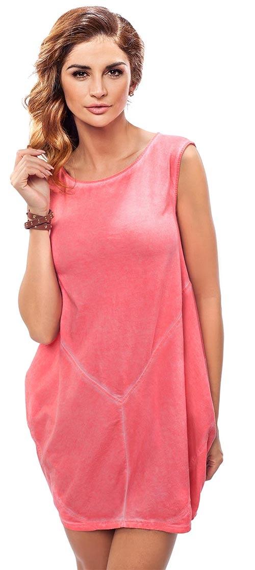 Růžová bavlněná tunika i pro těhotné