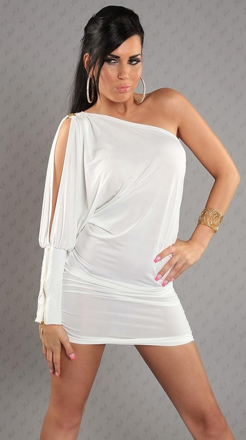 Sexy mini šaty na jedno rameno