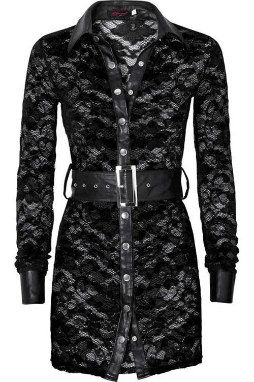 Trendy tunika v koženém vzhledu nádherně zdobená krajkou