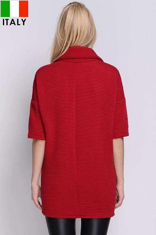 Červená zimní tunika s tříčtvrtečními rukávy
