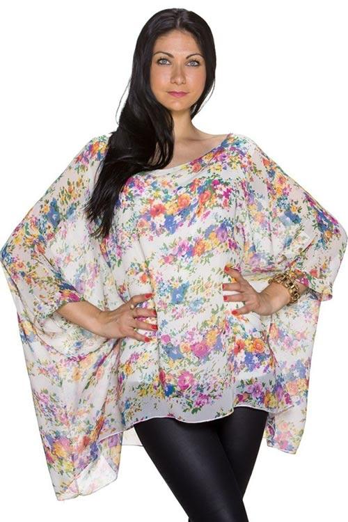 Letní tunika volného střihu s barevným potiskem květin