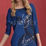 Luxusní tunika v tmavě modré barvě s originálním potiskem