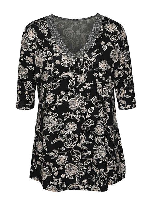 Černá květovaná tunika M&Co