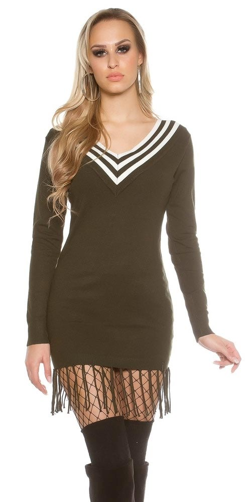 Delší dámský úpletový svetr s třásněmi
