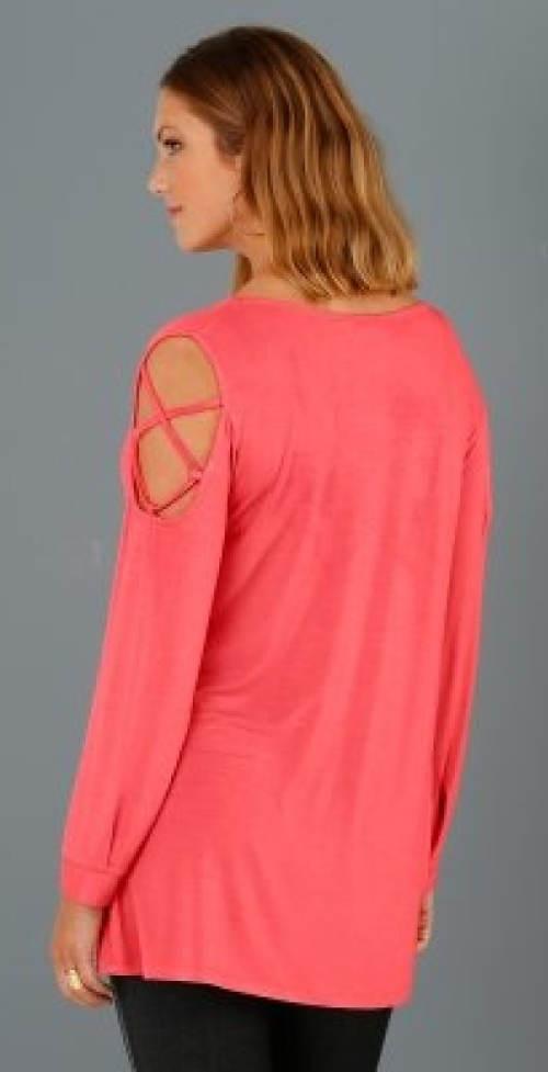 Dlouhé růžové dámské tričko