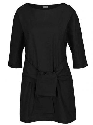 Černá šatová tunika s vázankou a kapsami ZOOT