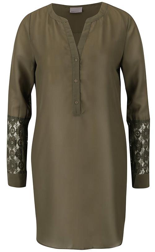 Khaki volnější tunika s krajkovými detaily