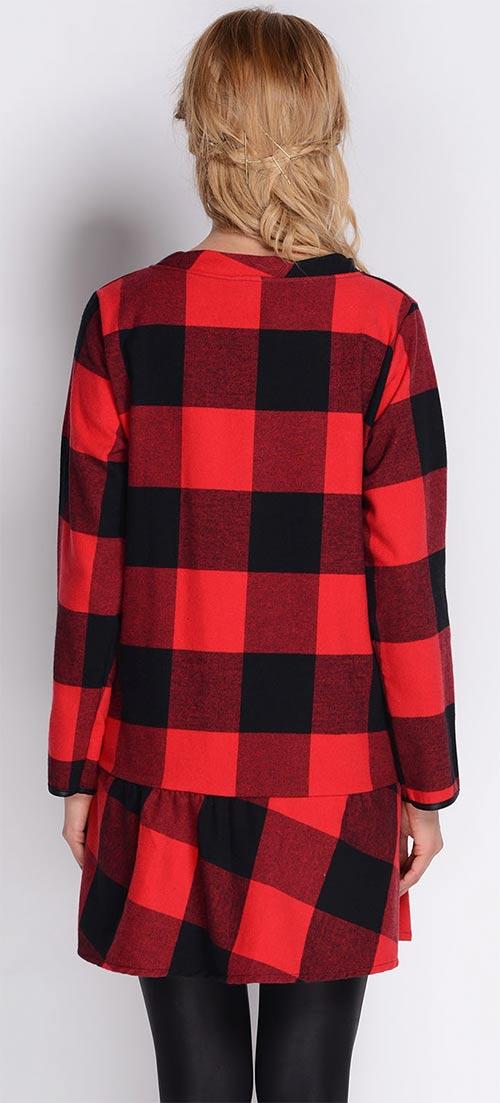 Červeno-černé kostkované šaty