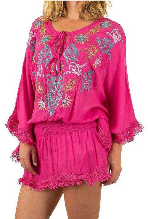 Růžová tunika s širokými rukávy