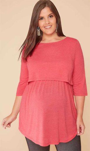 Růžová tunika pro těhotné a kojící