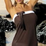 Hnědá plážová tunika bez ramínek