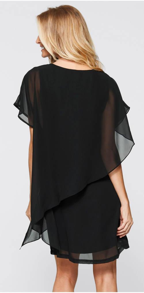 Černé dvouvrstvé plesové šaty