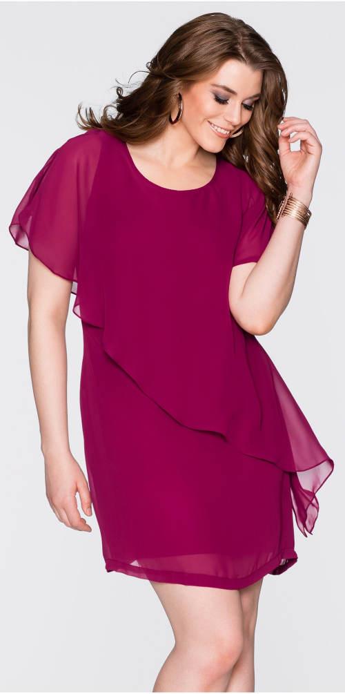 Fialové společenské XXL šaty