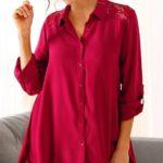 Košilová tunika s krajkou a asymetrickými cípy