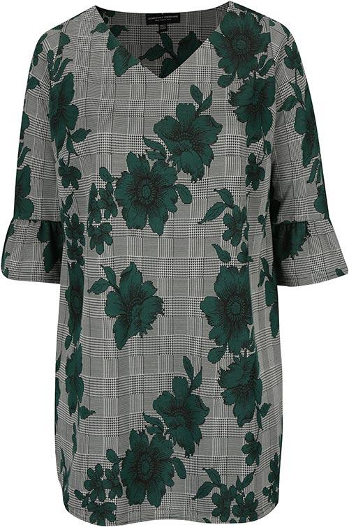 Zeleno-černá květovaná volná tunika