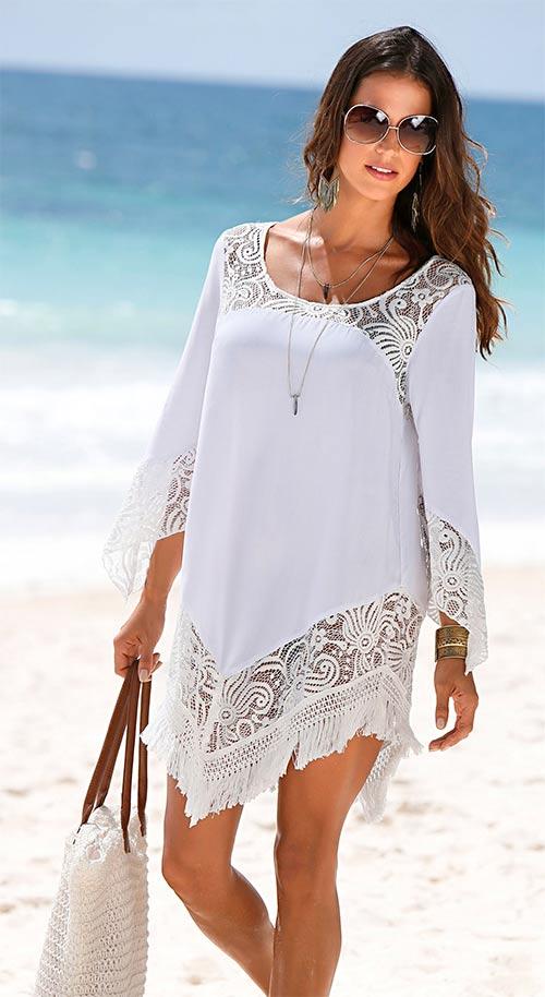 Plážová tunika s vyšívanou krajkou