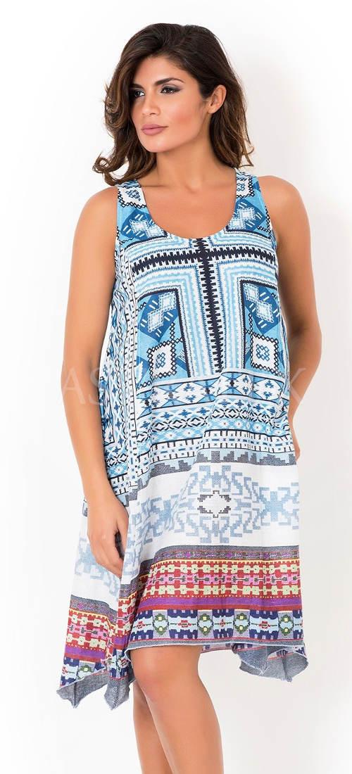 Volné letní šaty s geometrickým potiskem