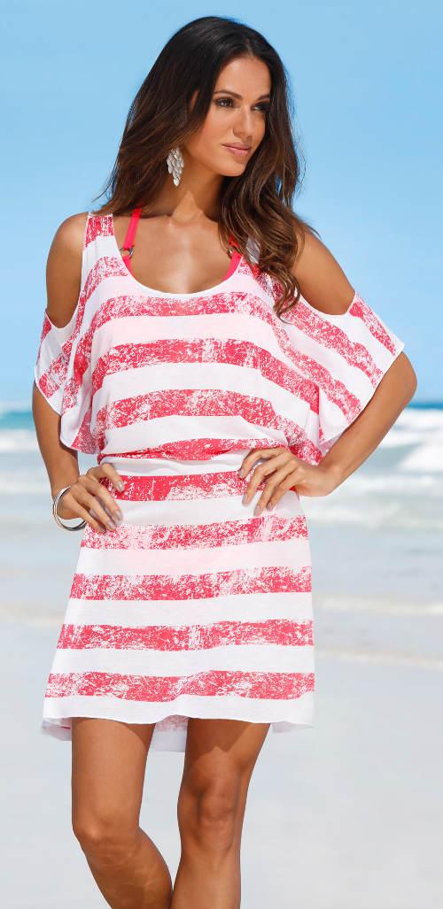 Plážové šaty se spadlými rukávy