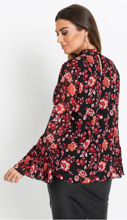 Květinová tunika s volánovými rukávy