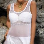 Bílé tričkové plážové šaty