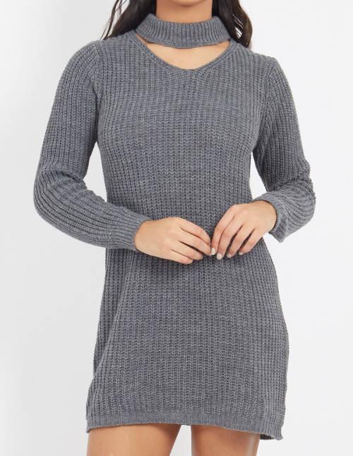 Dlouhý šedý dámský svetr
