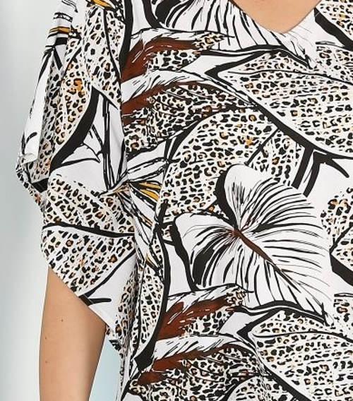 Kimono tunika s potiskem listí
