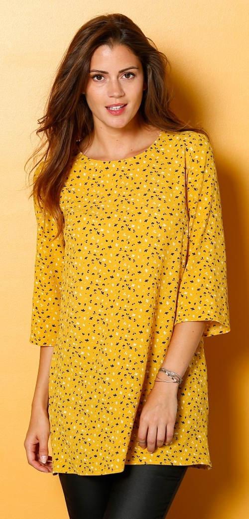 Žlutá těhotenská tunika s 3/4 rukávy