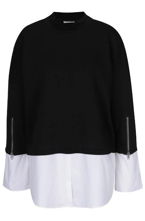 Černá tunika s všitou bilou košilí