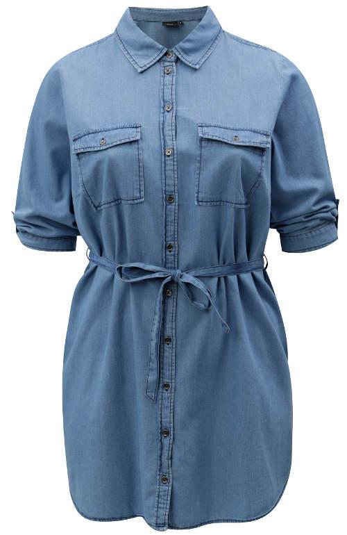 Košilová džínová tunika s páskem