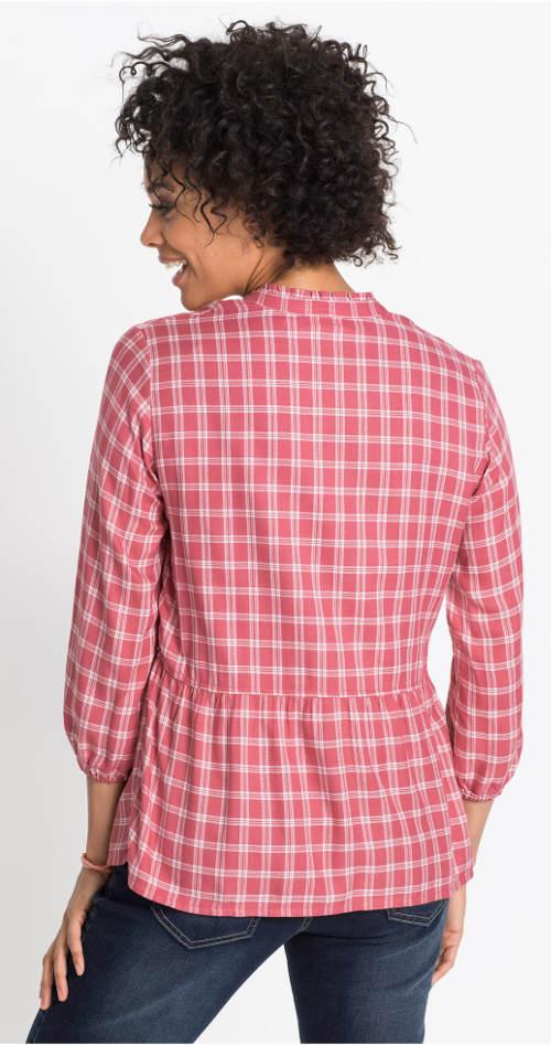 Růžová karovaná tunika