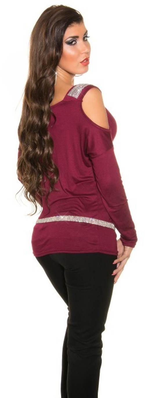 Vínová tunika s průstřihy na ramenou